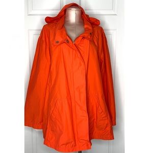 Eileen Fisher Long Red Hooded Anorak Jacket Sz XL